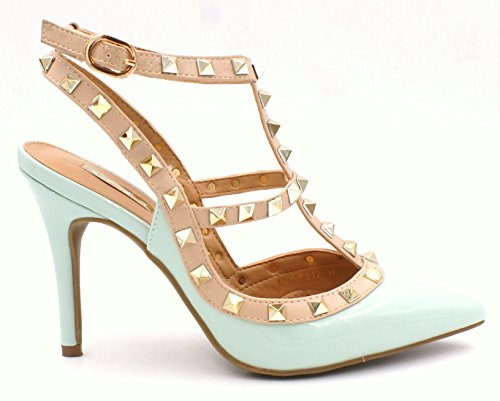 Womens Ladies Studded High Stiletto Heel Cut Out Pointed Toe Dressy Fashion Court Shoes - D18 Mint xXCPt9