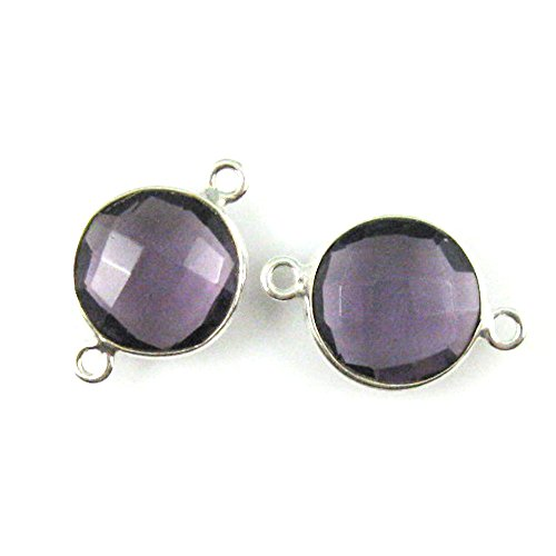 Bezel Gemstone Connector - Sterling Silver - 12mm Faceted Coin Shape Charm - Amethyst Quartz (Sold Per 2 Pieces) (Quartz Faceted Coin)