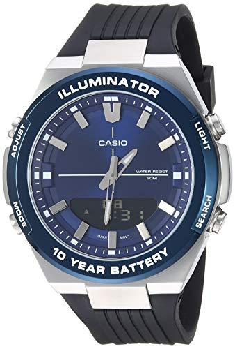 Casio Men's Illuminator Stainless Steel Quartz Watch with Polyurethane Strap, Black, 20.9 (Model: AMW-860-2AVCF)