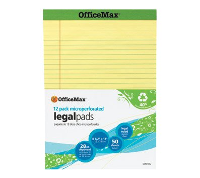 OfficeMax Recycled Perforated Pad, 8-1/2