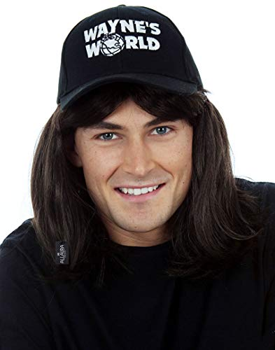 (Waynes World Wig with Hat - Wayne Campbell Hair Cap - Black Mullet Wigs Men)