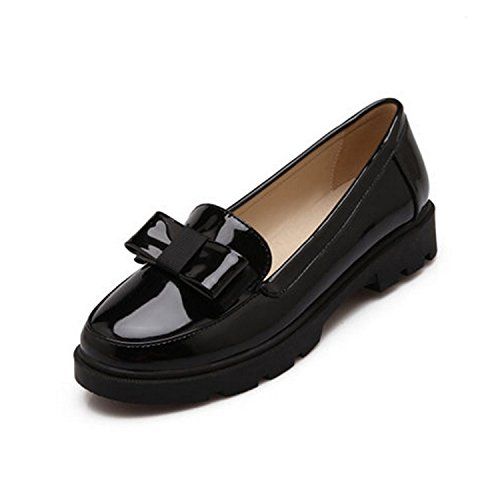 Women's Round Toe Flat Loafers Sweet Casual Shoes with Bow Black - 3