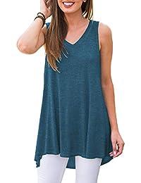 cf807c41b55 Women's Summer Sleeveless V-Neck T-Shirt Tunic Tops Blouse Shirts