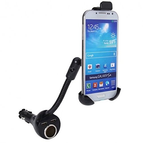 Car Mount Lighter Socket Charger Dual USB Port Holder for at&T Nokia Lumia 635 - at&T Nokia Lumia 830 - at&T Samsung Galaxy Alpha - at&T Samsung Galaxy S3 (SGH-i747)
