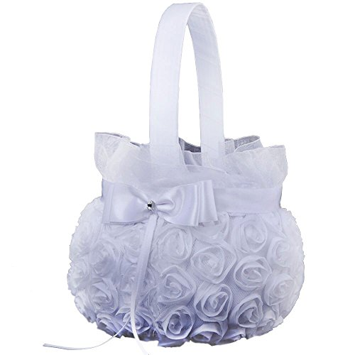 (Elevin(TM) New Romantic Bowknot Silk Cloth Wedding Ceremony Party Rose Flower Girl Basket (White))