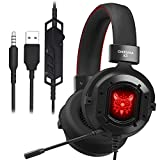 Gaming Headset, GAKOV GAK3 Cool RGB Light, Metal Iron Mesh, HD Clear Hose Microphone Gaming Headphones, 40mm Super Bass Speakers, Soft Memory Earmuffs for Laptop/Mac/Computer/PS4