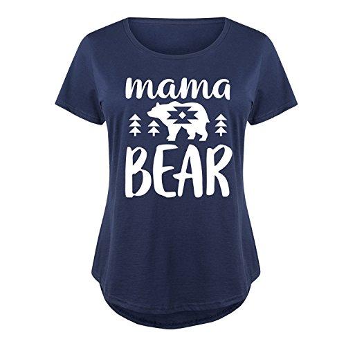 - Mama Bear - Ladies Plus Size Scoop Neck Tee Navy