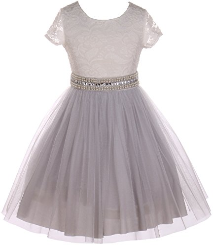 Big Girl Cap Sleeve Lace Top Tulle Pearl Easter Graduation Flower Girl Dress (20JK45S) Silver 8]()