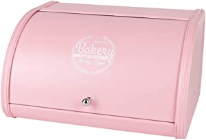 X458 Pink Metal Bread Box/Bin/kitchen Storage Containers with Roll Top Lid (pink)