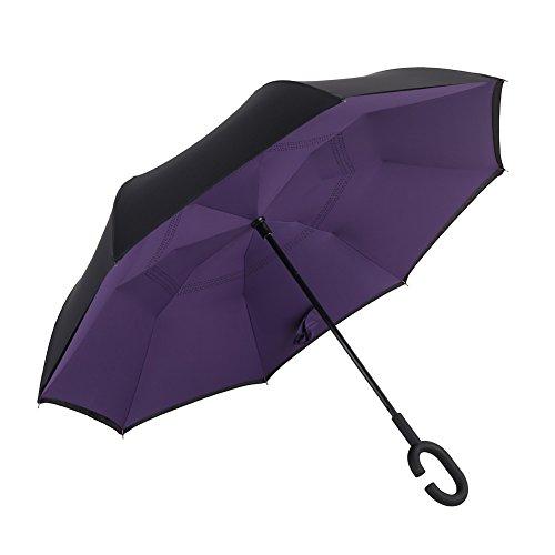 Price comparison product image David Cartier 2016 Compact Reverseable Travel Umbrellas,Purple