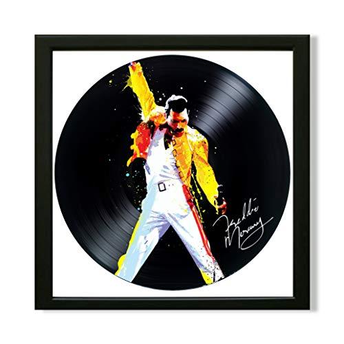 SofiClock Freddie Mercury frontman Queen Framed Decor Vinyl 13.8x13.8 - Queen Rock Band Unique Wall Art Decor - Best Gift for Rock Music Lover - Original Wall Home Decor (Framed)