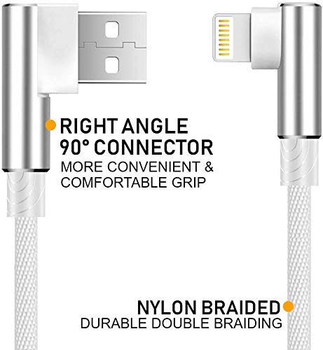 """Boost+ Right Angle Chargers Nylon Braided Fast Charging Cables USB 90-Degree Angled Cords 72"""" - 6 Feet (2-Pack)"""