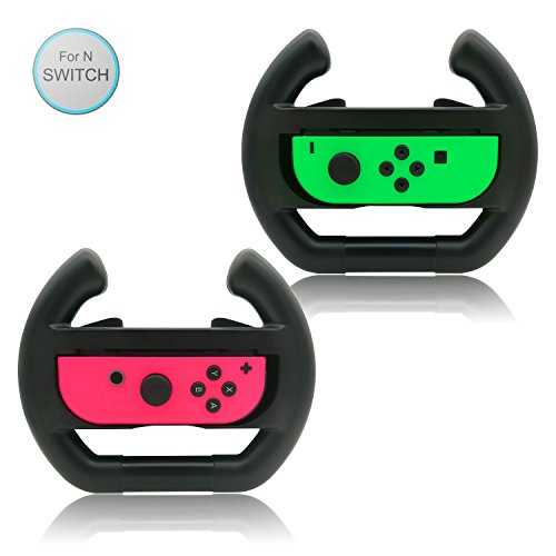 Wii Accessories Free Shipping (FASTSNAIL Steering Wheel for Joy-con, Steering Wheel for Switch Joycons Controller (Set of 2) Black)