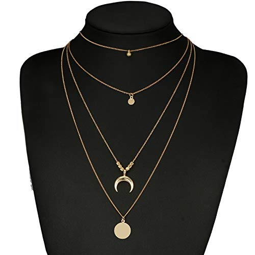 Sequin Antique Necklace - NitlovelyVintage Antique Gold Sequins Moon Pendant Necklaces Collar Multilayer Charm Chokers for Women Boho Necklace Jewelry 6175