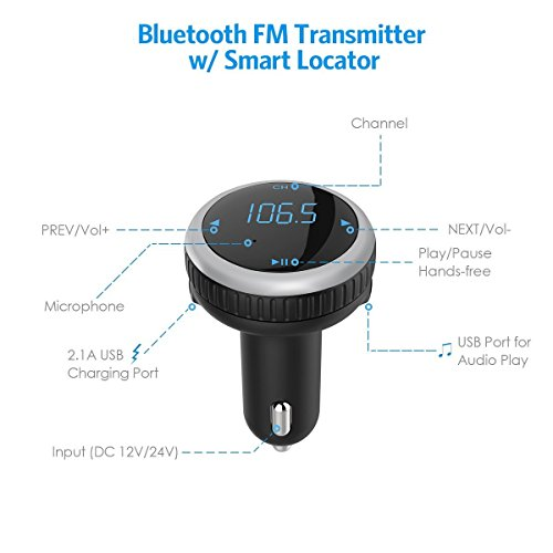 Wireless Bluetooth Car Kit FM Transmitter with Smart Car Locator, Handsfree Call, Car MP3 Player with Dual USB Charger Radio Adapter - Silver by Aphaca (Image #1)