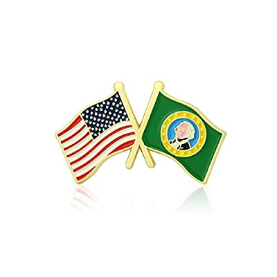 GS-JJ American and Washington State Crossed Friendship Flag Enamel Lapel Pin