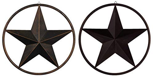 EBEI 31.5'' Large Metal Barn Star Outdoor Vintage Metal Texas Lone Star Dark Brown Western Home Decor