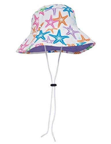 SunBusters Girls Bucket Hat (UPF 50+), Purple SeaStarberry, Medium