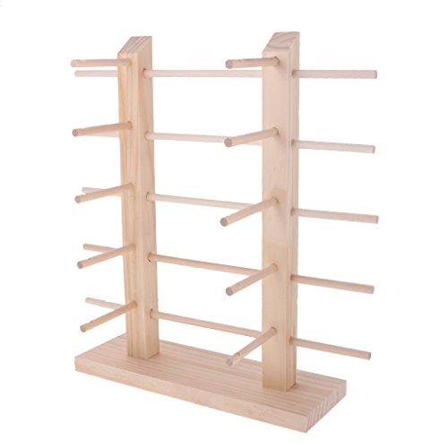 MagiDeal Natural 2-Row DIY Demountable Wood Sunglasses Display Stand Shelf Rack Glasses Frame Organizer 3/4/5 Layers - 5 - Sunglasses Display Diy
