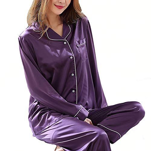 wishpower Womens Silk Satin Pajamas Set Sleepwear Loungewear S~2XL Plus