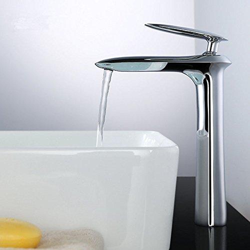 Hlluya Wasserhahn für Waschbecken Waschbecken Waschbecken Küche Die Wasserhähne voll Kupfer heiße und kalte Plus Höhe b86835