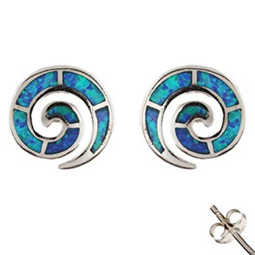 Sterling Silver Greek Earrings - Swirl Motif and Opal (11mm)
