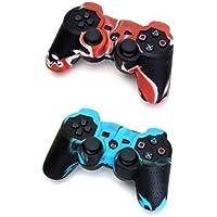 Fhouses 2 x Silikon Schützende Fall Abdeckung für PS2 PS3 drahtlose Controller Blau rot