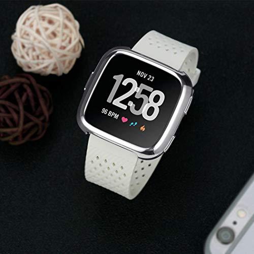 ... TPU de Recubrimiento Suave Funda Protectora de Silicona para Fitbit Versa Fundas Protector de Carcasa Reloj (Plata): Amazon.es: Deportes y aire libre