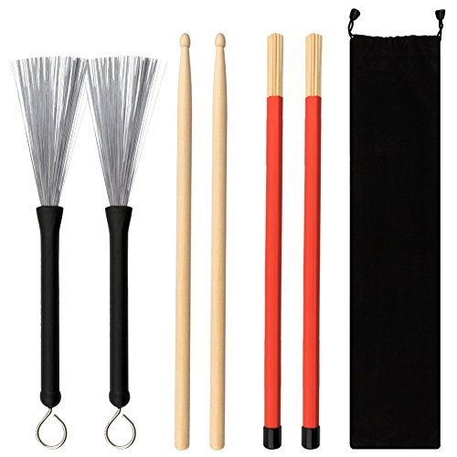 COCODE 1 Pair 5A Drum Sticks Maple Drumsticks Set 1 Pair Drum Wire Brushes Retractable Drum Stick Brush and 1 Pair Hot Rods Drum Sticks for Jazz Acoustic Music Lover Gift with Portable Storage Bag