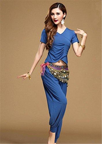 usure de danse modal usure yoga Femmes PCS du ventre de usure blue 2 coton EzgxwqPg8