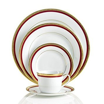 Charter Club Red Rim 5 Piece Place Dinnerware Setting 5 Piece Place Setting Rim