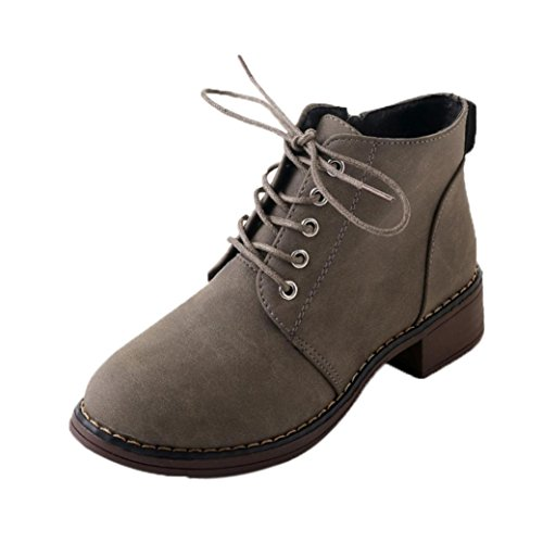 Amazon.com: KaiCran Lady Ankle Boots for Womens Martin Boots Lace-up Ankle Boots for girls Flat Heels: Sports & Outdoors