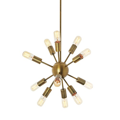 Modern Sputnik Pendant Lighting Brass, 12-Light Ceiling Fixture, Mid-Century Industrial Chandelier, Traditional, Dimmable - ETL Listed ()
