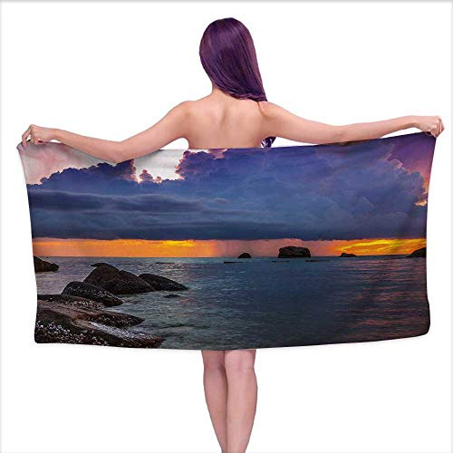 (Glifporia Bath Towels Egyptian Cotton Beach,Tropical Seashore Majestic Sunset Natural Scenery Big Clouds Rocks Exotic Landscape,Multicolor,W10 xL39 for Youth Girls)