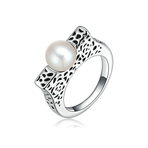 - Epinki Fashion Jewellry Platinum Plated Womens Wedding Ring Pearl Flower Pattern Dot White Gold Size 7