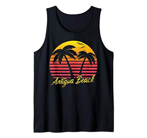 Summer Vacation Vintage Retro Sunset Antigua Beach Tank ()