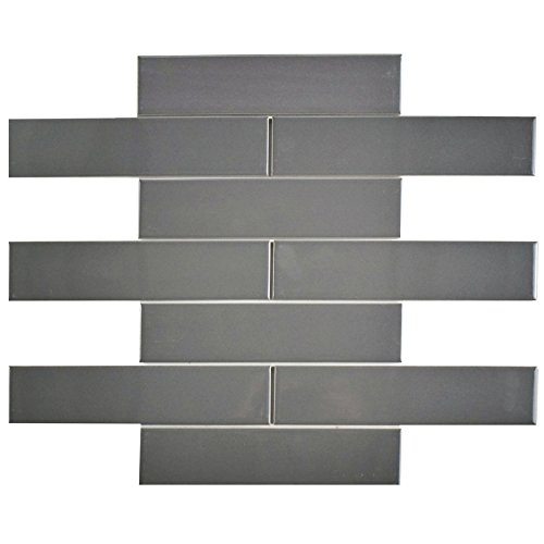 SomerTile FMTSHGG Retro Soho Subway Porcelain Floor and Wall Tile, 1.75'' x 7.62'', Glossy Grey by SOMERTILE