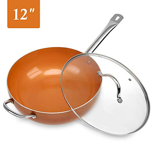 SHINEURI 12 Inch Nonstick Ceramic Woks and Stir Fry Pans with Lid, Copper Skillet with Stainless Steel Helper Handle, Saute Pan for Induction, Gas, Electric & Ceramic Glass Stovetops - Dishwasher Safe (Wok Copper)