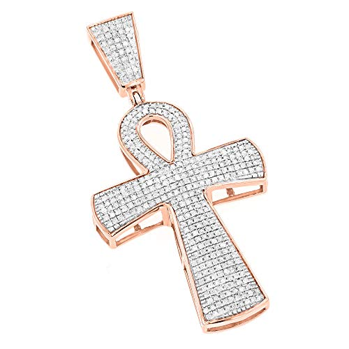 Ankh Cross Iced Out Diamond Pendant for Men Egyptian Symbol of Life in 10k Gold 0.85ctw (Rose Gold)