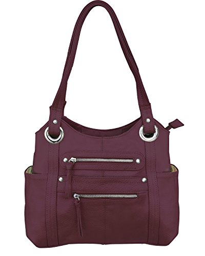 Roma Leathers Leather Locking Concealment Purse - CCW Concealed Carry Gun Shoulder Bag, Wine (7008-WIN)