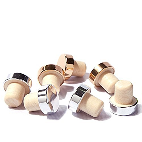 Gohide Wine Stopper,Wine corks,Wine Bottle Tampion Cork,Sealing Plug Cap,Sobering Device Set,Red Wine Bottle Stopper,Plug Bottle Cap,Bar Tools Bar Accessories (10pcs/pack Color Gold/Silver) HSU ()