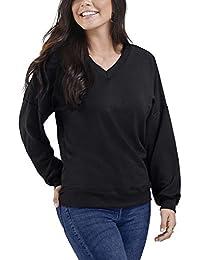 Women's Brushed Fleece Long Sleeve V Neck Blouse