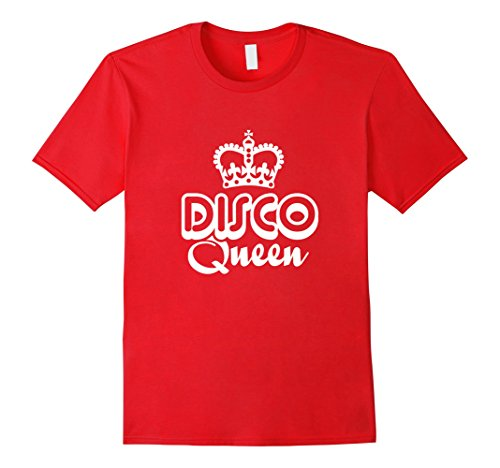 Mens 70s Disco Queen Retro Vintage Dance Party T-Shirt (Dark) Large Red