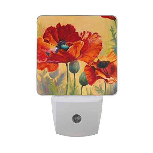 Floral Night Light - Naanle Set of 2 Red Poppy Flower Floral On Orange Background Auto Sensor LED Dusk to Dawn Night Light Plug in Indoor for Adults