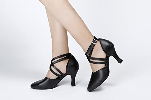 Minishion QJ807 Womens Ankle Strap Leather Salsa Tango Ballroom Latin Party Wedding Dance Pumps Black XK6OWC