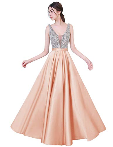 (YuNuo Gorgeous V Neck Beaded Crystal Brown Long Prom Dresses 2019 Custom Made Sexy Floor Length Evening Dress Long Formal Party Gowns S5Dustypink-US8 )