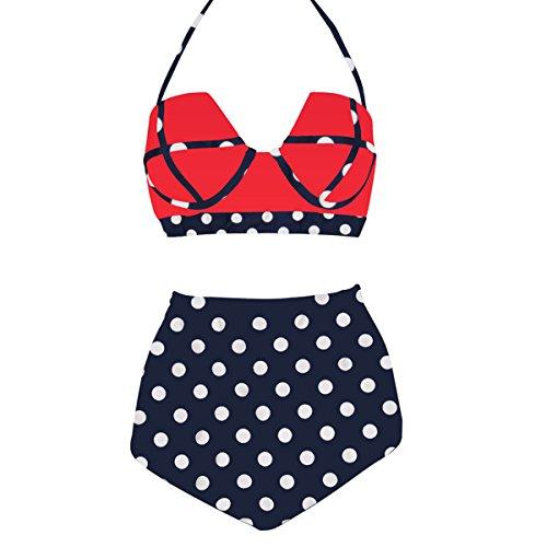 LA PLAGE Women's High Waist Cute Dot Padded Bra Swimwear size L US black red