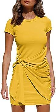LILLUSORY Women's Summer T Shirt Dress Casual Short Sleeve 2021 Crewneck Bodycon Ruched Tie Waist Mini Dre