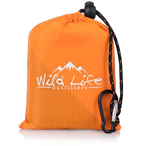"Compact Portable Kanga Pocket Blanket: Packable Outdoor Blankets for Camping - Sand Proof Beach Blanket & Water Resistant Picnic Blanket - Orange Mat With Carabiner Clip Carrying Pouch - 55"" x 44"""