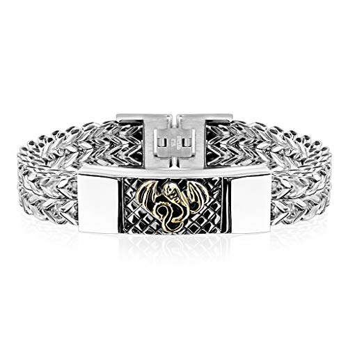 Gold Dragon Double Square Chain Stainless ID Plate Stainless Steel Bracelet